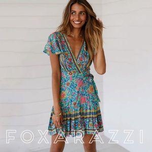 Dresses & Skirts - Folktown Turquoise Floral Boho Wrap PlayDress